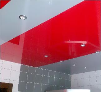 Глянцевый мультифактурный натяжной потолок с установкой в Ванную 9 м