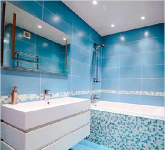 Матовый натяжной потолок с установкой в Ванную 3 м